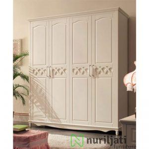 Almari Pakaian Minimallis Duco Putih 4 Pintu Terbaru