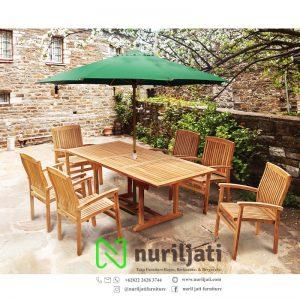 Set Meja Extension Payung Jati Steaking Chair Garden