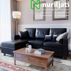 Set Sofa Tamu Sudut Jati Hitam
