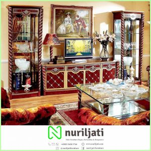 Bufet Lemari Hias Jepara Warna Walnut Light