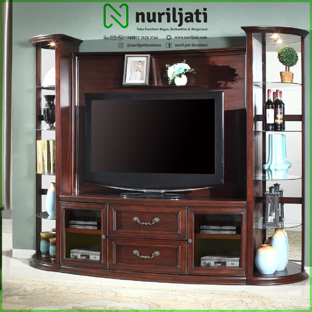 Jual Bufet Tv Kayu Jati Model Minimalis 2021