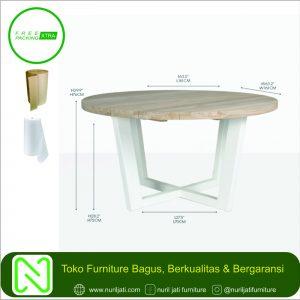 Meja Industrial Bundar Putih Modern Mewah